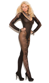 Long sleeve sheer jacquard bodystocking with plunge neck. Crotchless.