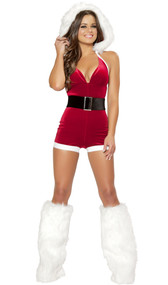 Christmas Fantasy costume includes hooded halter top velvet romper and belt. Two piece set.