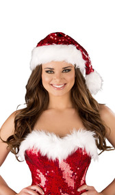 Fur trimmed sequin Santa hat. Red with white trim.