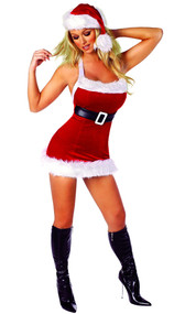 Santa's Chic costume includes velvet fur trimmed dress with attached belt.