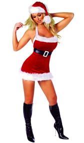 Santa's Chic costume includes velvet fur trimmed dress with attached belt.