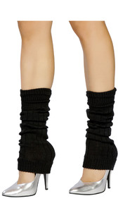 Solid color knit knee high leg warmers. Pair.