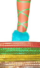 "Shiny dot thigh high leg wraps. These 100"" long straps wrap around the leg and tie behind the ankle or under the foot."
