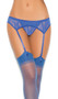 Adjustable lace garter belt and matching thong.