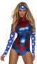 Sexy superhero costume includes two-toned metallic bodysuit with star spangled sleeves and matching headband.