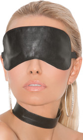Leather blindfold with adjustable elastic strap and clasp. Inside is soft leather.