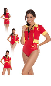 """Beach Patrol lifeguard costume includes one piece swimsuit, booty shorts, zip front short sleeve jacket, and whistle. Four piece set. Can be worn in many different combinations. Logo on jacket and one piece swimsuit has a medical cross logo that says """"Ocean View Beach Patrol"""". Back side of the booty shorts also say """"Beach Patrol""""."""