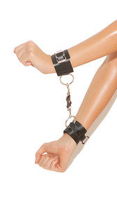 Studded leather wrist restraints with O ring detail and adjustable buckle closure. Detachable bolt snap hooks on each.
