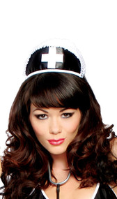 Black nurse hat with cross and ruffle trim. Head piece has an elastic band that can go around the head for a snug fit.