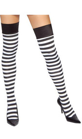 Horizontal striped thigh high stockings.