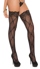 Bow pattern lace thigh high stockings with back seam and lace stay up silicone top.