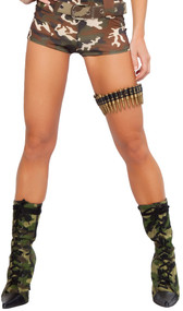 Bullet leg garter. Bullets are plastic. Elastic band on back to ensure a snug fit.