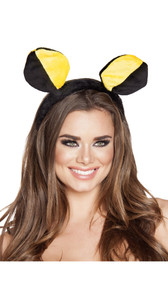 Bumble bee head piece on covered headband.