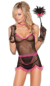 Chamber Maid costume includes: Sheer babydoll with adjustable straps and ruffle trim, g-string, apron and choker. Four piece set.