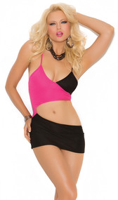 Color block mini dress with cut out front and adjustable straps.