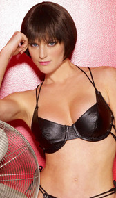 Demi cup leather bra with underwire and intricate lacing at the neck and back.