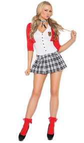 Dean List Diva costume includes dress with attached jacket and matching neck piece. Two piece set.