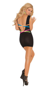 Deep V mini dress with neon criss cross straps.