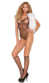 Sheer diamond net teddy with faux pearl accents, halter neck and cheeky cut back. Matching knee high stockings included. Two piece set.