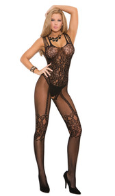 Fishnet and lace bodystocking with multi shoulder straps and open crotch. Faux teddy, lace top thigh highs and garter belt look.