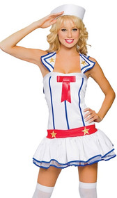 Flirty First Mate sailor costume includes sleeveless dress with attached rear bib, mini built in petticoat, gold star details, and red bow accent. Hat with red ribbon also included. Two piece set.