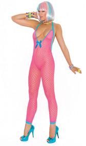 Footless halter neck deep V crochet bodystocking with peek a boo back and satin bow detail.