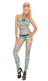 Geometric print footless diamond net halter strappy bodystocking with satin bow and open crotch.