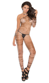 Tie dye footless diamond net one shoulder bodystocking with open crotch.