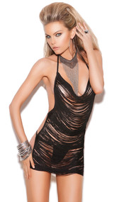 Fringe mini dress with halter neck and open back.