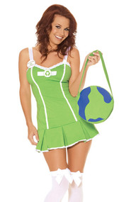 Eco-friendly costume includes mini dress, detachable pin, and Earth bag.