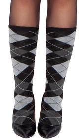 Grey argyle stockings.