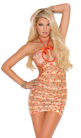 Halter mini dress with front keyhole, satin bow and net design in striped confetti print.