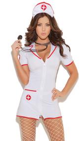Head Nurse costume includes zip front mini dress and head piece. Two piece set.