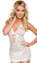 Jaquard mesh halter chemise with contrast lace up sides, ruffle trim, ruched back detail, and g-string.