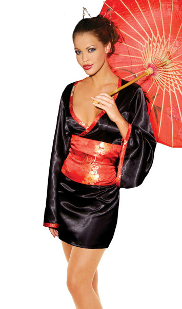 Japanese doll costume includes: Satin dress with red tapestry sash. Two piece set.