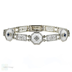Art Deco Camphor Glass, Diamond & Sapphire Bracelet. Filigree Link 14k White Gold Bracelet.