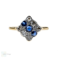 Art Deco Diamond & Sapphire Engagement Ring, Square Panel Triple Row. 18ct & Platinum.