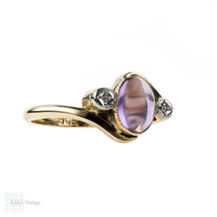 Vintage Amethyst & Diamond Ring, 9k Bypass Twist Design 9ct Gold Ring.