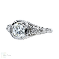 Jabel Filigree Diamond Engagement Ring, 18k Vintage 0.77 ct Old European Cut. 18ct White Gold.
