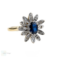 Mid Century Sapphire & Diamond Dinner Ring, Dark Blue Oval Cut Sapphire with Flower Design Diamond Halo Cocktail Ring.