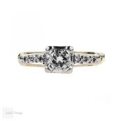 Vintage Diamond Engagement Ring, Round Brilliant Cut Diamond in Two Tone Mid Century Setting. 0.56 ctw, Circa 1940s, 18 Carat Gold.