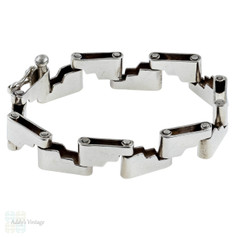 Mid Century Sterling Silver Bracelet, Step Ladder Design Heavy Wide Bracelet.