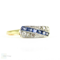 Art Deco Sapphire & Diamond Engagement Ring, Unique Panel Ring in Geometric Style with Milgrain Beading. 18ct & Platinum.
