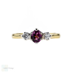 Garnet & Diamond Three Stone Engagement Ring, Classic 18ct Gold Setting.