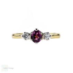 Garnet & Diamond Three Stone Engagement Ring, Classic 18ct Gold Setting.