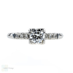 Vintage Diamond Engagement Ring, Platinum Mid Century Triple Claw Design, 0.53 ctw.