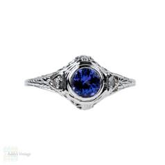 Tanzanite & Diamond Filigree Engagement Ring, Art Deco Style Floral Pierced Engraved Setting, 14K.