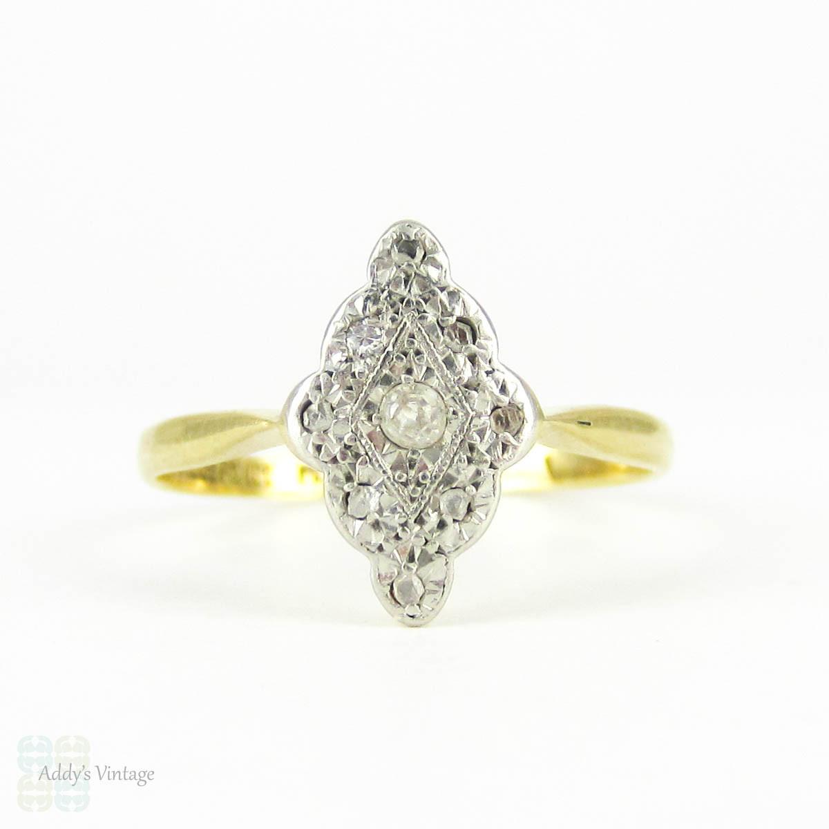 Edwardian Navette Shape Diamond Ring Elongated Diamond