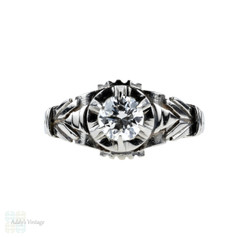 French Diamond Engagement Ring, Vintage 18k Engraved 18ct Solitaire, Circa 1930s.