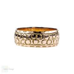 Antique Edwardian 9ct Engraved Wedding Ring, Wide 9k Band. Size T / 9.5.